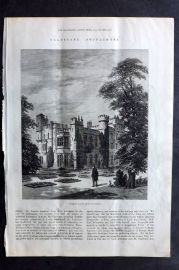 ILN 1880 Antique Print. Hawarden Castle, from the Garden. Flintshire, Wales